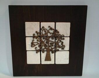 Wall art stone and wood tree