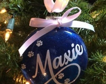 Personalized Pet Ornament; Glitter Ornament; Paw Prints and Personalized