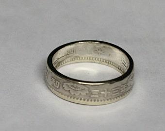 Silver Japanese 100 Yen coin ring