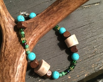 Earth tone beads and deer antler bracelet
