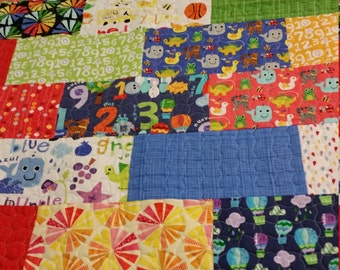 Color and Count baby boy quilt