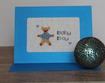 Baby Boy Teddy Bear Cross-stitched Greeting Card