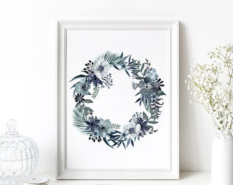 Winter Wreath Watercolor Digital Print Instant Art INSTANT DOWNLOAD Printable Wall Decor