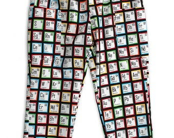 Unisex Science Trousers Chemistry Periodic Table with big adventure pockets