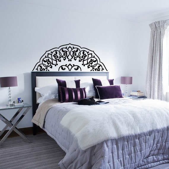 Bedroom Headboard Wall Decor : Headboard wall decal bedroom half mandala