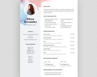 "MODEL Resume Template / CV Template + Cover Letter for MS Word and Photoshop | Instant Digital Download - ""Model"""