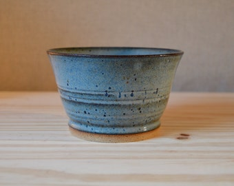 SALE! Full Pool ringed bowl #2 - blue glaze on tan clay