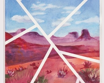 Original Contemporary Watercolor Painting - Lines Over Monument Valley