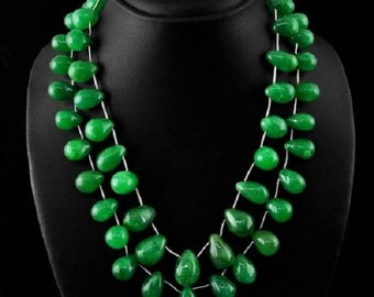 Green Emerald Bead Necklace, 2 strand, 747.33 ctw