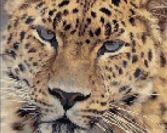Leopard B/W Cross Stitch Chart