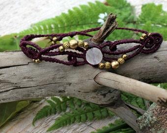 Macrame bracelet, Rosequartz bracelet, Boho jewelry, bohemian bracelet, Gypsy bracelet