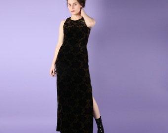 Romantic 90s Vintage Velvet Maxi Dress Gown