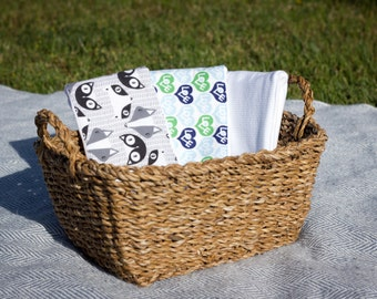 Burp Cloths - Set of 3 - Cloth Diapers: Black and White Critters, Love, & Blue Stripes - Evy Baby