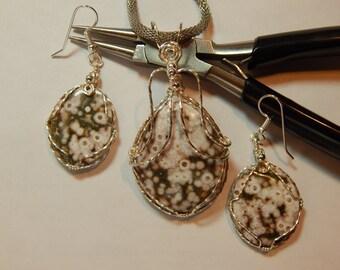 Natural Ocean Jasper necklace earrings set green white ocean jasper wire wrapped in sterling silver wire