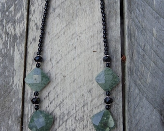 Beaded green jasper, onyx and sterling silver necklace.