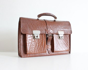 Vintage 70s Leather Satchel Messenger Bag