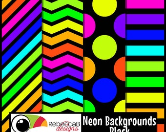 Neon Clip Art: Neon Papers with Black, Neon Digital Paper 12x12