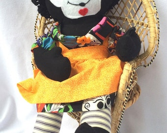 Day of the Dead Raggedy Ann - Gold Pinafore