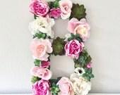Large Floral Letter, Flower Letter, Wedding Reception Decor, Reception Signs, Floral Wedding Decor, Custom Wedding Monogram, Personalized
