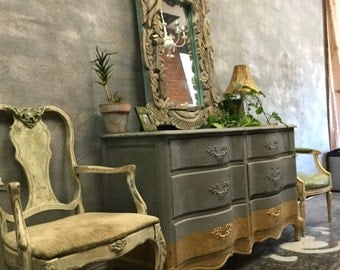 French Provincial Six Drawer Dresser grey with gold band detail