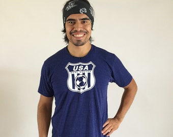 USA Logo- Tri-Blend Women's and Men's Shirt, Indigo Blue, US Deaf Soccer