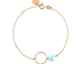 Karma bracelet with amazonite and ringh