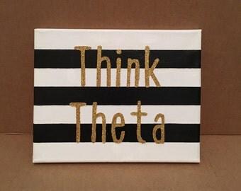 Striped Think Theta Canvas