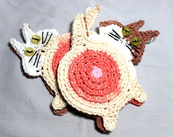 Peek-A-Boo Cat Coasters, Cat Butt Mug Rugs, Peeking Cat Butt Coasters, Handmade Coasters, Crochet Cat Coasters, Set of 4 Cat Butt Coasters