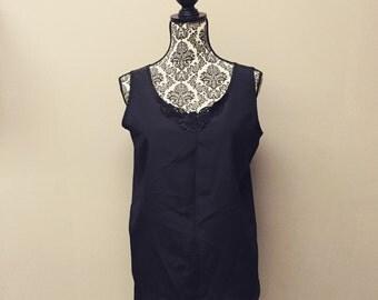 Black Vintage Camisole w/ Lace Detail