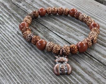 bronze owl charm bracelet