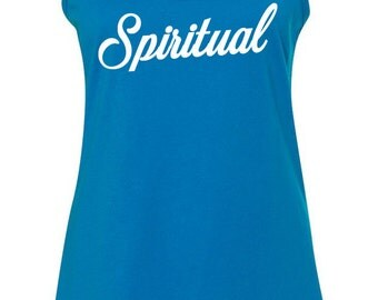 Spiritual - Tank Top Racerback Ladies Turquoise Namaste Crossfit Gym Yoga Workout S-XL