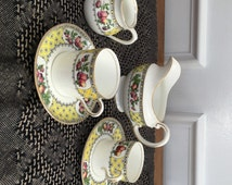 Antique Aynsley Adams of London Tea Service Set Creamer, Sugar, Pair of Demitasse Cups and Saucers Normandy Pattern English China