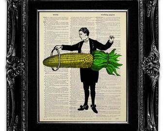 Magic Corn, KITCHEN Art, VEGETABLE Art, Kitchen Wall Decor, Food Print, FOOD Art, Funny Kitchen Print, Vegetable Print, Food Gift Corn Print
