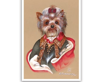 Yorkie Art Print - the Commander - Dog Lover Gifts and Dog Posters - Yorkshire Terrier - Dog Portraits by Maria Pishvanova