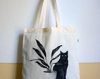 tote bag - Cat, cotton bag, screen print, hand-made