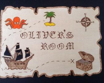 Oliver's Room Kids Personalised  Wooden Pirate Map Door Plaque, Bedroom sign.