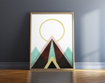 Prints Wall Art Mountain Poster Wall Art Prints Geometric Prints Wall Art Print Geometric Wall Art Mountain Art Moon Print Geometric Art