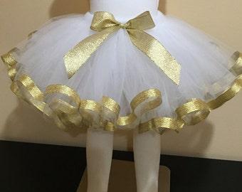 White Gold Tutu Birthday Party Cute Ready to Ship