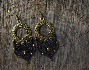 Macrame earrings with brass beads | Boho macrame earrings | Black earrings with brass charm