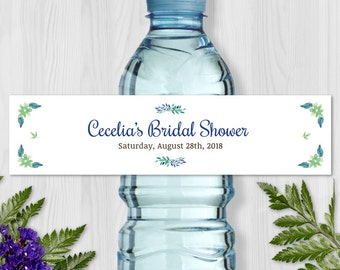 "Printable Blue Watercolor Floral Water Bottle Labels - Bridal Wedding Shower; Personalized 8"" x 2"" Labels - Editable PDF, Instant Download"