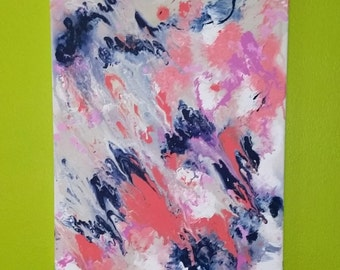 Original Abstract Fluid Marbling Pink Navy White Gray