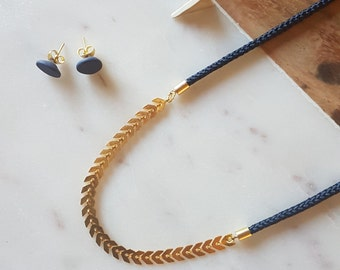 Chevron Rope Necklace Navy Blue
