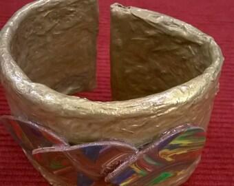 Found Art Handmade Paper Bracelet
