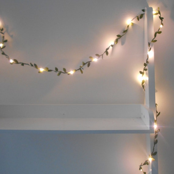 String Lights Leaves : Green Leaves Garland String Lights / Fairy by AutumnWeddings