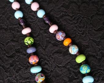 Handmade glass beads chain 56 cm