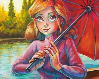 Umbrella Girl Acrylic Painting Print