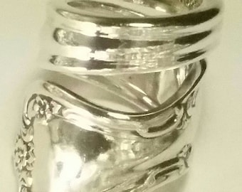 Beautifly Handcrafted Rogers & Bros. Reinforced Plate Spoon Ring Made From Antique Silverware
