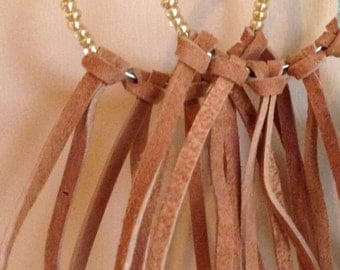 Gold bead and light brown leather fringe hoops
