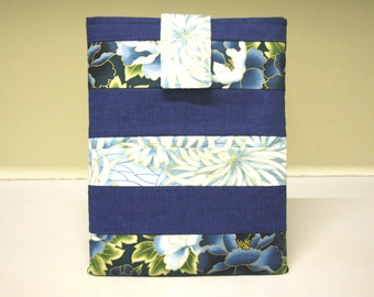 Tablet Sleeve Japanese floral Design Blue Golden Ipad Reader Case Patchwork