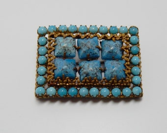 Vintage Czech Turquoise Glass Brooch Vintage Brass and Glass Brooch Hubble Glass